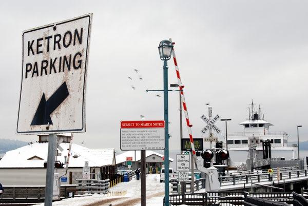 steilacoom WA washington ferry dock to ketron island in winter snow